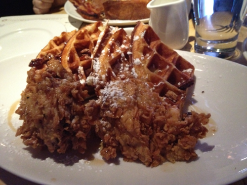 Chicken and waffles at Birch and Barley