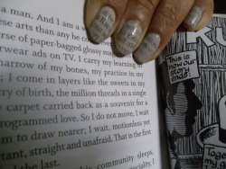Newspaper nail art (instructions via cutepolish's YouTube page / newsprint courtesy of The New York Times book review of Beautiful Souls by Eyal Press) + backdrop of pages 212-213 of the Winter 2012 issue of the Virginia Quarterly Review, including Ru Freeman's short fiction piece Sleeping Alone and Joe Sacco's Kushinagar comic (which I highly recommend) = nerdy nails and Sunday morning reading.
