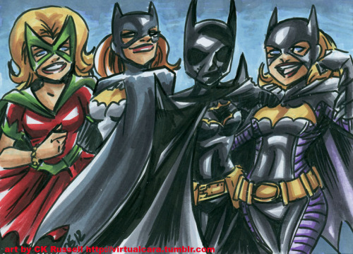 Batgirls! A commission from yesterday's artcast. 7x5 inches, brushpen and marker on cardstock.