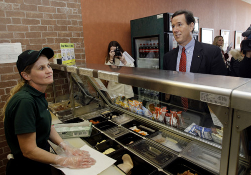 Rick Santorum campaigns at a Subway in Wilmington, Ohio, because even presidential candidates have to eat sometimes. (Photo by Eric Gay/AP)