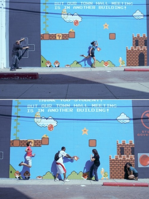 "INTERACTIVE An ""interactive"" 16' x 38' Super Mario Bros. mural painted on the wall of the Columbus College of Art & Design's administration building by a group of CCAD students."