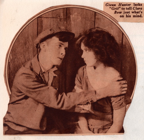 "clarabowarchive:  ""Glenn Hunter [age 30] lacks 'Grit' to tell Clara Bow [age 19] just what's on his mind."" Grit (1924), directed by Frank Tuttle.  My God, look how young she is!"