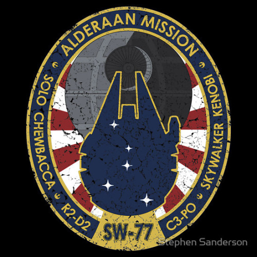Alderaan Mission Patch Tee  Two smugglers, two droids, an old man and a farmboy. The ultimate crew for the ultimate mission. A Star Wars parody of NASA mission patches…