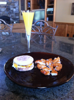 Homemade egg mcmuffin, hashbrowns & OJ (or as I like to call it Mimosa!)