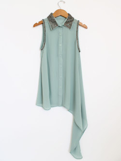 New at Mickey's Girl - Sequin Collar Draped Tank- Mint