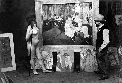Henri de Toulouse-Lautrec, french painter and one of his models, in his studio. France, around 1894.