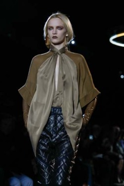 Quilted leather pants on Daria Strokous at Givenchy