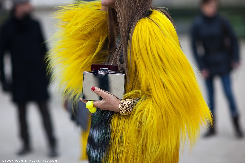 ADR details during PFW (image: stockholmstreetstyle)   Perfect muppet coat. That's for sure.