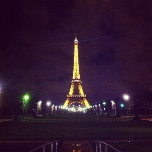The Eiffel Tower at night #paris #eiffeltower  (Taken with Instagram at Tour Eiffel — Eiffel Tower)