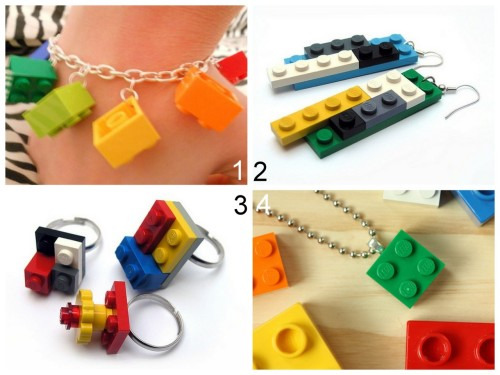 truebluemeandyou:  DIY Lego Jewelry. #4 was used for a fundraiser. Tutorial for Lego Bracelet by Cut Out + Keep here. Lego Rings: Weggart's Flickr Photostream here. Lego Earrings: Weggart's Flickr Photostream here. *All Weggart's store locations were empty except one, and there she sells her amazing miniature polymer clay creations. Tutorial for Lego Ball Chain and Bail Necklaces (with exact details about where everything was purchased) at The Long Thread here. *Created for a fund raiser.
