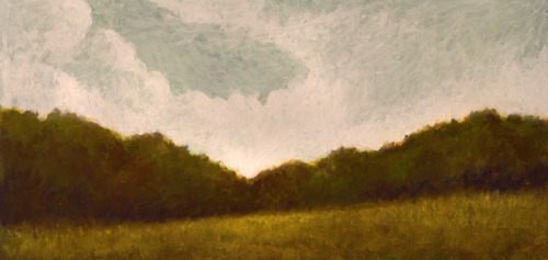 "field by the sea Acrylic on wood, impasto, 11x24"", March 2012."