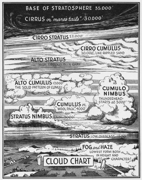 djgagnon:  #aviation #ushistory #WW2 Cloud Types Illustrated for this book on elementary flight training in World War 2. from: Your Wings; Assen Jordanoff; 1936-1942; Funk and Wagnalls.