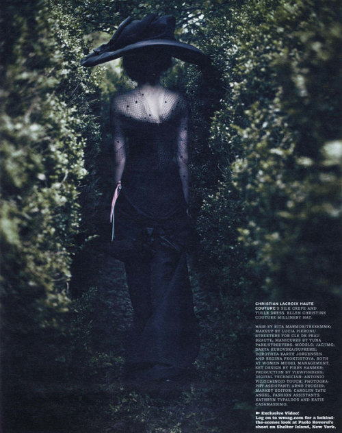 """Dream Sequence"" W Magazine, October 2009 photographer: Paolo Roversi Regina Feoktistova Dream Sequence by Paolo Roversi for W October"
