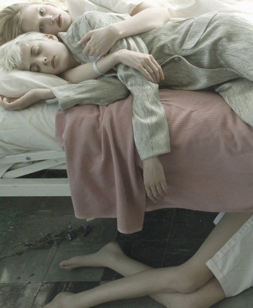 lara stone and agyness deyn shot by steven meisel for vogue italia