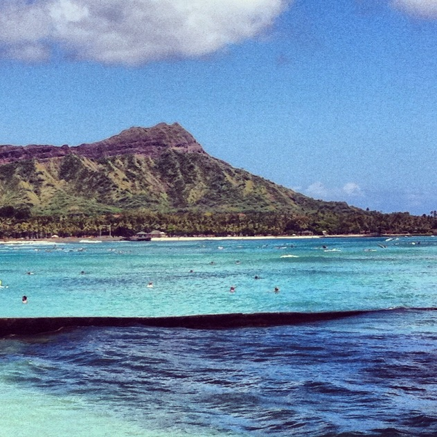 Diamond Head from Waikiki Beach - June 2011