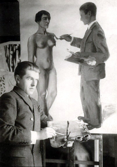 Rene Magritte posing next to his painting, Attempting the Impossible, 1928 Paris.