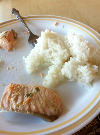 Baked Salmon with creamy herby goat cheese sauce I bought some great cuts of salmon and decided to try a recipe I read online that used goat cheese. I mixed together a small amount of goat cheese, mustard, mayo, thyme, and basil and spread it over the top of the fish. Baked at 375 for 10 minutes. Perfect. I made a side salad and realized that perhaps the sauce i made for the fish could do double duty as a salad dressing. So I added a small amount of water to the sauce, mixed it up, and added it to the salad. Really worked well…huge smile on my face now! Rating: 5 stars Cost: $5