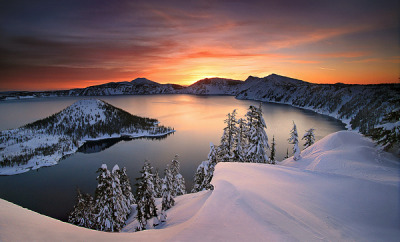 "rebloggingforscience:  ""Crater Lake, Winter"" by Marc Adamus"