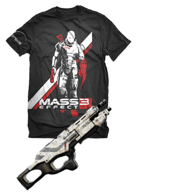 REMINDER: The Red Herb's Galactic Peril Limited Edition Mass Effect 3 T-Shirt Giveaway Contest! As a treat to my handful of followers and anyone so kind enough as to check out The Herb, I'm giving away two Mass Effect 3 Tees like the one pictured above (sans the terribly photoshopped assault rifle). The contest only lasts up to 11:59 P.M. on March 5th, so follow this link to find out how to enter.  A lack of entrants will force my hand to burn these shirts.  Shipping the ashes will cost me significantly less but, as a result, causes the shirts to be infinitely less wearable.  So enter now to keep Shepard's face intact!