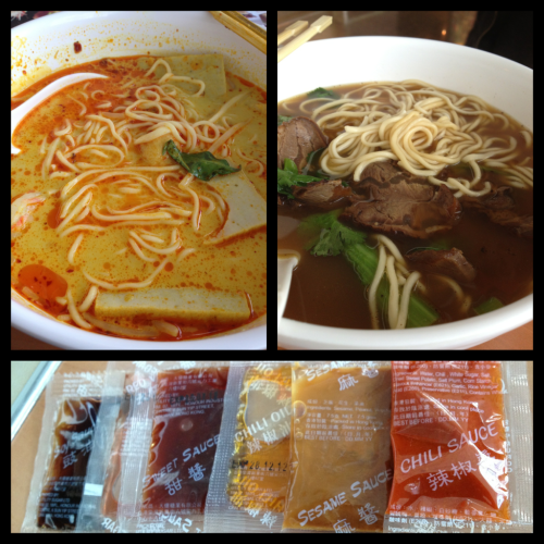 Singapore Laksa and Beef noodle, fresh made to order.