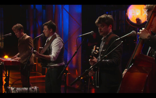 Mumford & Sons perform at Amnesty International's Secret Policeman's Ball on March 4, 2012.