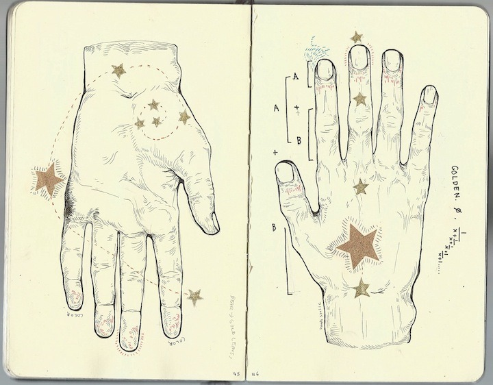 "pooft:  ""The Human hand and the Galaxies"" Moleskine. MALN 2012."