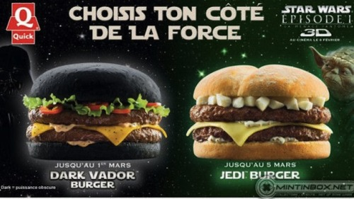 The black bun on Quick's Darth Vader Burger is not a cool novelty. It just makes the bread look fucking burnt. Who's working the grill back there?! Peeta Mellark?! (I'm very sorry.) (Thanks to Chris Scott for the tip!)