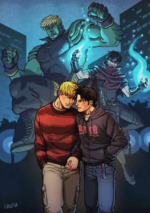 cris-art:   This is a fanart of Teddy and Billy ♥♥, hope you like it! Hulkling and Wiccan @ Young Avengers - Marvel