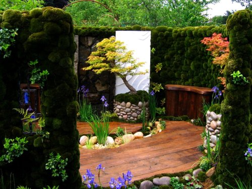Beautiful Japanese-Themed container garden. Ah, Paradise.