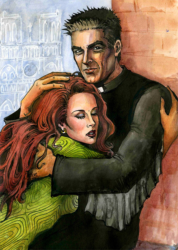 "notredamedeparisfans:   ""You're Mine"" by ElenaTria on Deviantart  Helene Segara and Daniel Lavoie were the models  I saw the original picture in Paris ; it was wonderful.    I will never forget it; all of us on the Notre-Dame de Paris tower:)))"