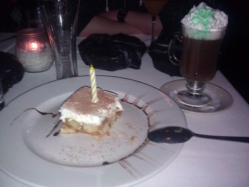 Irish coffee, and a surprise birthday cake.  Thanks fam! The next two days were a blur.
