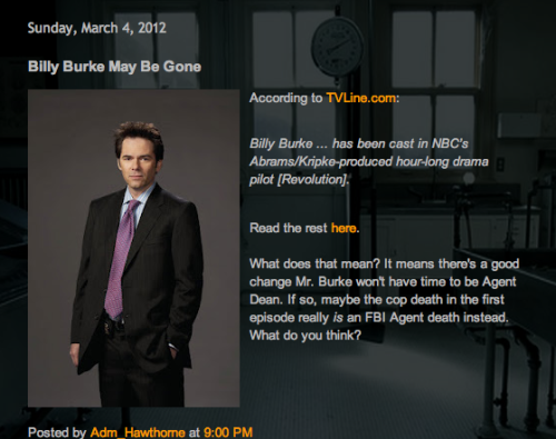 FOR THE LOVE OF RIZZLES  http://rizzlesgirls.blogspot.com/2012/03/billy-burke-may-be-gone.html?spref=tw