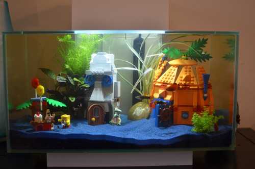 Fluval Edge aquarium with Spongebob Lego by olliethebastard on Flickr.