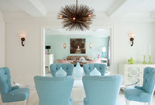 ysvoice:  | ♕ |  aqua blue living room by fawn galli | via vintageluxe  That's like a sea urchin chandelier….awesome!