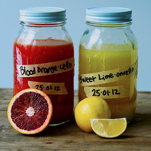 Blood Orange-Cello and Sweet Lime-Oncello (Variations on Limoncello)