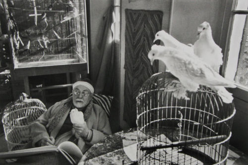 Henri-Cartier Bresson: Henri Matisse in his studio with his doves. Vence, France, 1944