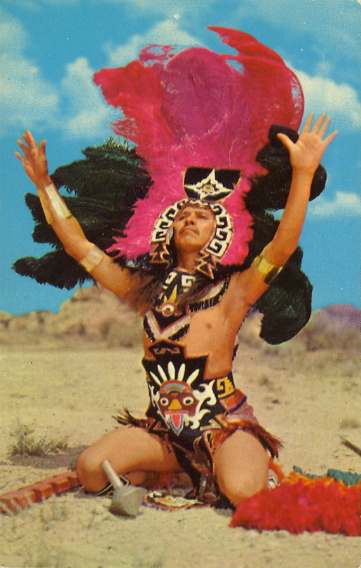AZTEC DANCER  Gallup is famous for its colorful inter-tribal Indian Ceremonial which draws some 30 tribes to compete in Arts, Crafts and Ceremonial Dancing. They come from the Southwest, the Midwest and even Mexico, as is seen in this picture of Aztec Dancer.