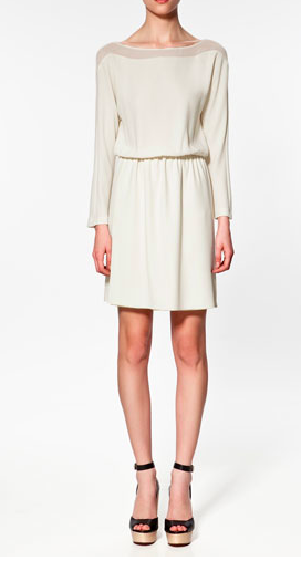 Love this dress with a transparent neck from Zara. The shoe choice is great too.