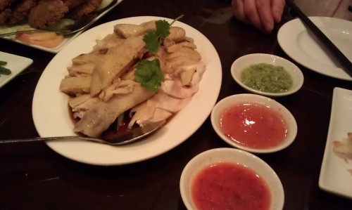 Half order of the Hainanese Chicken from the New Malaysian Restaurant 48 Bowery (btw Bayard and Canal Street). Eat it with the coconut rice and the spicy chili sauce. So good.