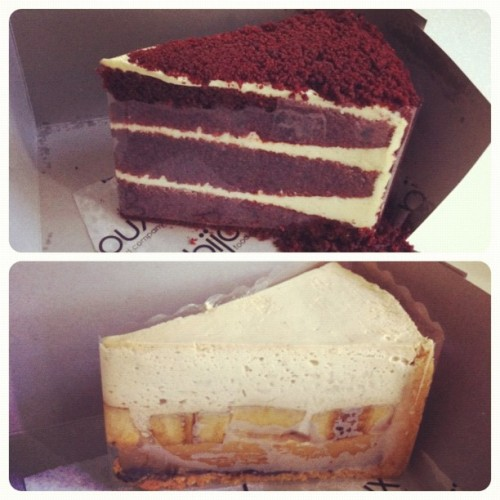 Bought a red velvet and a banoffee pie from the Bisou Bake Shop to share with Darren.