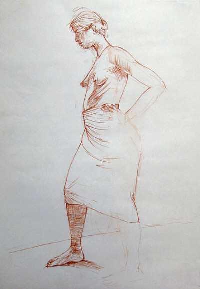 red-chalk-skirt by ellis nadler on Flickr.Red chalk on paper A2 size