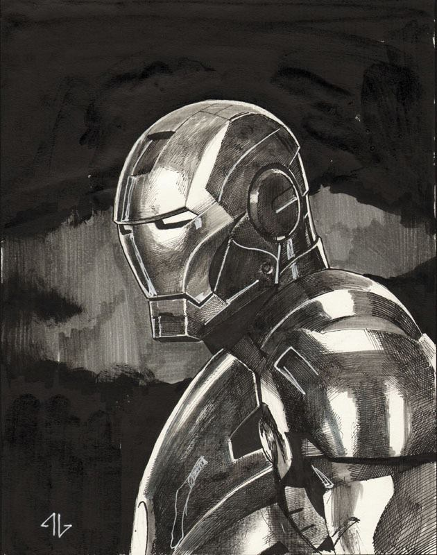 "Adi Granov - A sketch a day #28 'Iron Man' ""That's all she wrote folks!""  … meaning, that completes Adi Granov's sketch a day series. Have a look see at the collection on my tumblr, or at Granov's facebook page."
