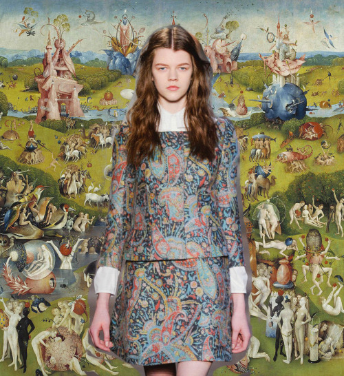 Carven: Guillaume Henry used Hieronymus Bosch's Garden of Earthly Delights as inspiration for a colorful print.
