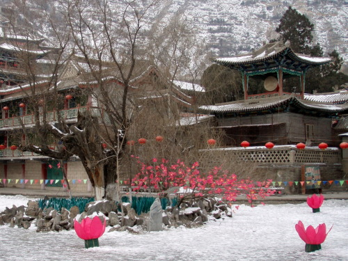 Snowy temple in Lanzhou, China