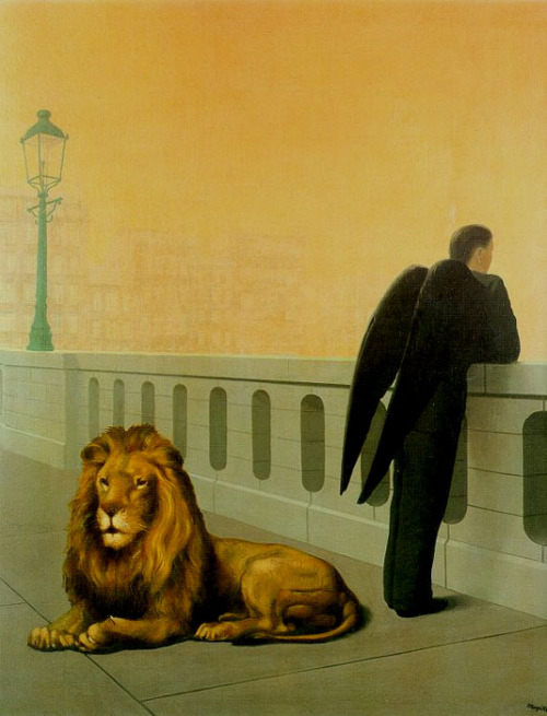 jane-and-edward:  Rene Magritte, Homesickness, 1940.   Neither the lion nor the man with folded wings have any business being on this bridge.They embody the melancholy of those who know that real life is always something else, something that does not exist.