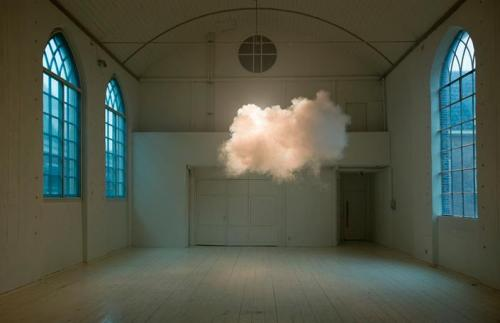 "An ethereal,  floating cloud inside a gallery. 'Nimbus' is a new installation of Amsterdam-based artist Berndnaut  Smilde in the HMK { HotelMariaKapel }, an artist residency programme in the Netherlands, with a presentation space in a 15th century chapel. He created the installation by 'combining smoke, moisture and dramatic lighting'. Literature says, ""Be on time, the experiment only lasts for a few minutes.""  Via helloyoucreatives and Design Boom."