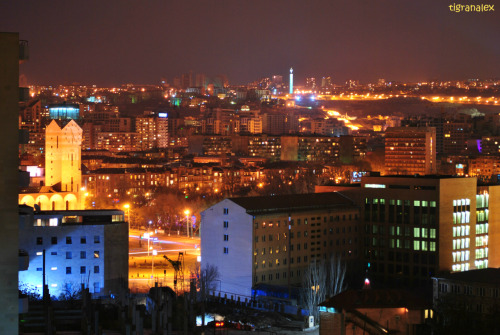 Yerevan panorama with the tower of the municipality.