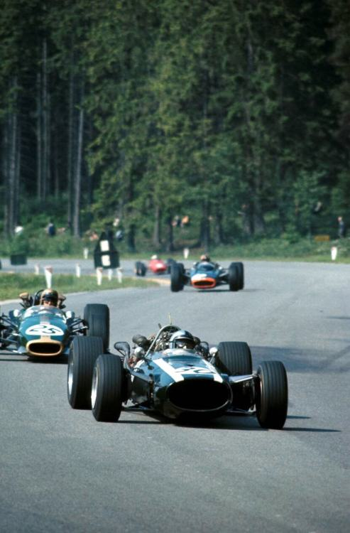 Pedro Rodríguez & Jack Brabham at the 1967 Belgian Grand Prix