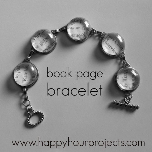 truebluemeandyou:  DIY Book Page Bracelet from The Hunger Games. Another beginners' DIY inexpensive jewelry  project. Everyone is scanning or copying the pages from books for these projects and using the cheap glass stones from The Dollar Store. Photo  from Happy Hour Projects here. Original bracelet tutorial here.
