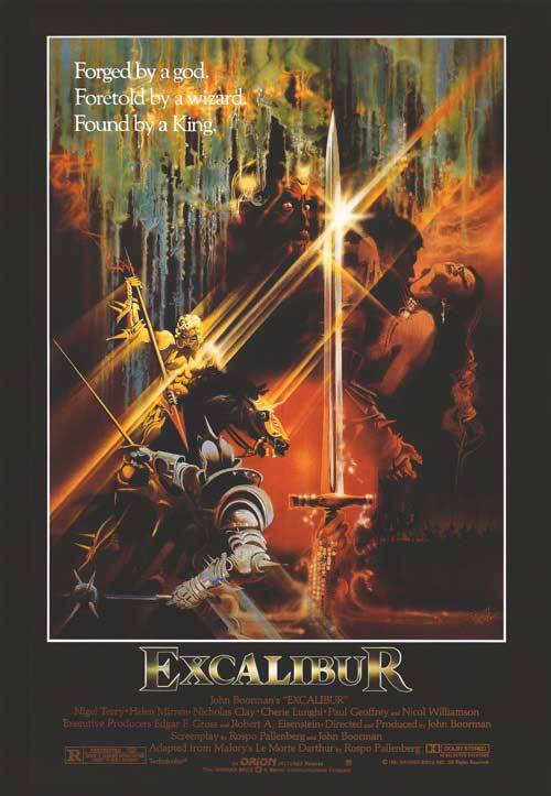 EXCALIBUR (John Boorman, 1981) - 1.5/5  This overbearingly lavish amalgamation of many King Arthur myths is grossly dated and poorly acted. Excalibur is a bildungsroman following Arthur's birth, to his kingship after the famous Sword in the Stone incident, and finally to his death at the hands of his son, Mordred, born from incestuous trickery. At times laughable, but at most incredibly boring. Not even the Wagner soundtrack could save it.